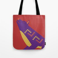 coyote Tote Bags featuring Coyote by Claire Lordon