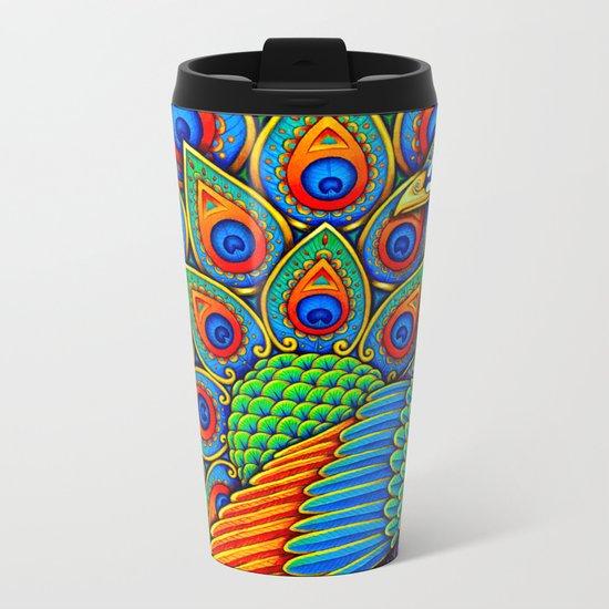 Paisley Peacock Metal Travel Mug
