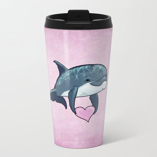 Love Ya! ~ Baby Dolphin ~ Pink Metal Travel Mug
