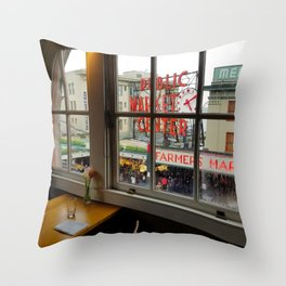 Dinner View of Pike Place Market Throw Pillow