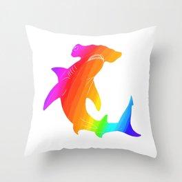 Rainbow hammerhead Throw Pillow