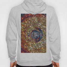 Mosaik orange with a dark blue circle Hoody