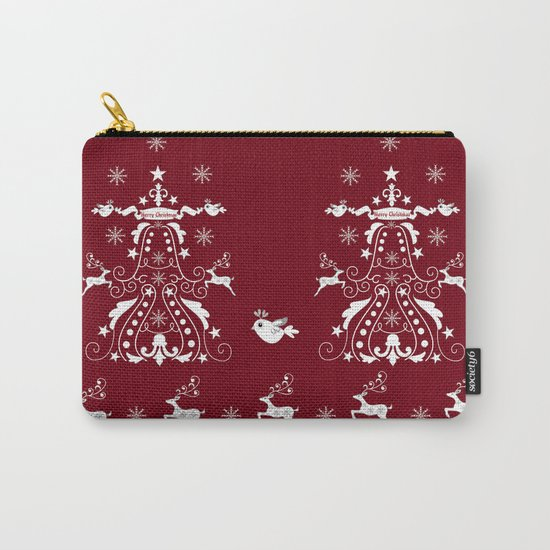 Retro damask christmas tree with reindeer Carry-All Pouch