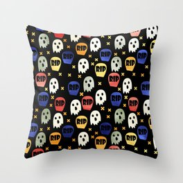 Ghost and Gravestone Halloween Throw Pillow
