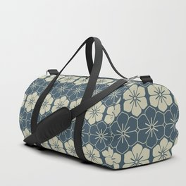 Blue Floral Japanese Pattern Duffle Bag
