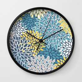 Modern, Floral Prints, Blue and Yellow Wall Clock