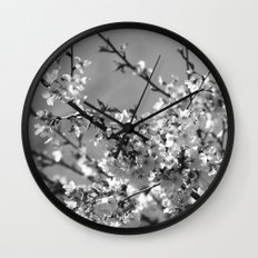 Spring Floral Black and White Wall Clock