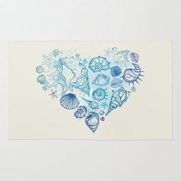 Heart of the shells. Hand drawn illustration Rug