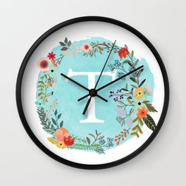 Personalized Monogram Initial Letter T Blue Watercolor Flower Wreath Artwork Wall Clock