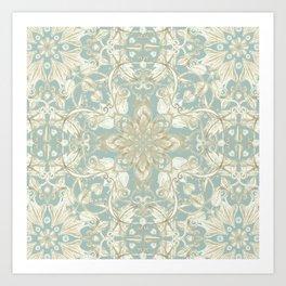 Soft Sage & Cream hand drawn floral pattern Art Print