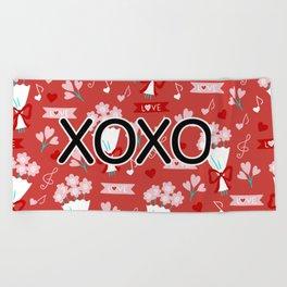 Valentine Flower Bouquets Pattern Beach Towel