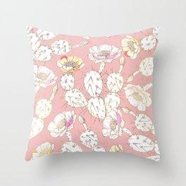 Modern white gold blush pink catus floral Throw Pillow