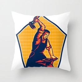 Blacksmith Worker Striking Sledgehammer Anvil Retro Throw Pillow