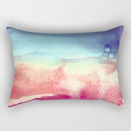 Tie-Dye Watercolor Blues, Greens, Pale Yellow, Dark Pinks Abstract Design Rectangular Pillow
