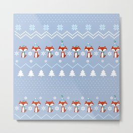 Fox Christmas Sweater Pattern Metal Print