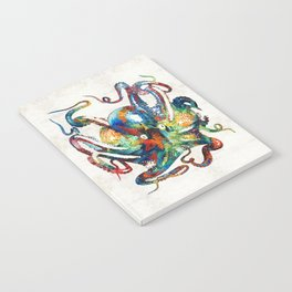 Colorful Octopus Art by Sharon Cummings Notebook