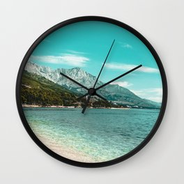 Teal Ocean Beach | Caribbean Clear Beaches Water Waves in Europe Mountain Landscape Beautiful Sky Wall Clock