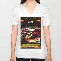 pain V-neck T-shirts featuring Pain by Ricardo Patino