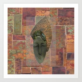 #12 Face & Metal Digital Collage Art Print