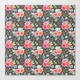 Elegant botanical blush pink teal green watercolor floral Canvas Print