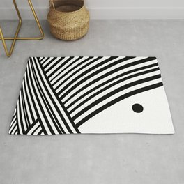 Abstract Black and White Linear Solar Rays Pattern Rug