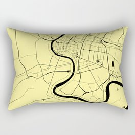 Bangkok Thailand Minimal Street Map - Pastel Yellow and Black Rectangular Pillow