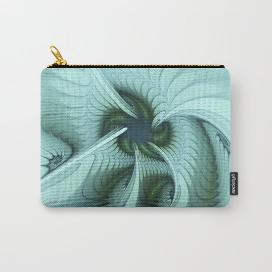 Green Lights in a blue Fantasy Fractal Carry-All Pouch