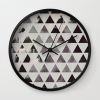 triangles Wall Clocks featuring triangles. by Georgiana Paraschiv