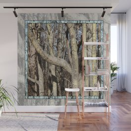 CROWDED GNARLED ASPEN TREES ON CRESCENT BEACH Wall Mural