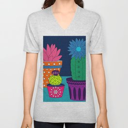 Fun With Coloring Knitted Cactus Unisex V-Neck