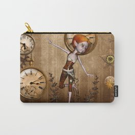 Cute little steampunk girl with clocks and gears Carry-All Pouch
