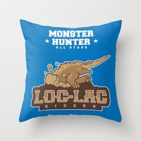 monster hunter Throw Pillows featuring Monster Hunter All Stars - Loc-Lac Riders by Bleached ink