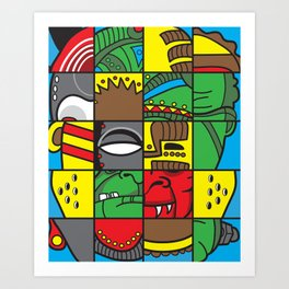 Mask Of Many Faces Art Print
