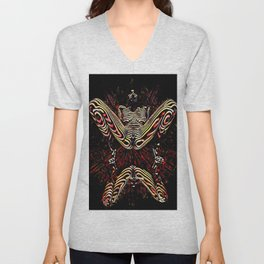 8755-KMA Submissive Woman on Mirror Presents Her Naked Body Zebra Striped Abstract Unisex V-Neck