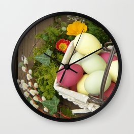 Easter Eggs in Basket - Cafe or Restaurant Decor Wall Clock