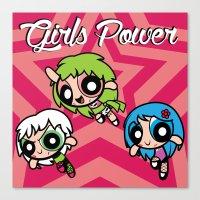 powerpuff girls Canvas Prints featuring Girls Power by Danilo Machuca