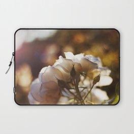 "Flower Art Print - White, Peach, Yellow Print - Shabby Chic Wall Art - Home Decor - ""White Roses"" Laptop Sleeve"