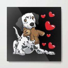 Dalmatian with stuffed animal and hearts Metal Print
