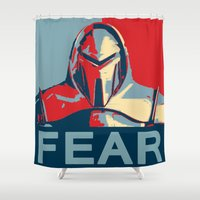 battlestar Shower Curtains featuring Vote for Cylon by Travis Love