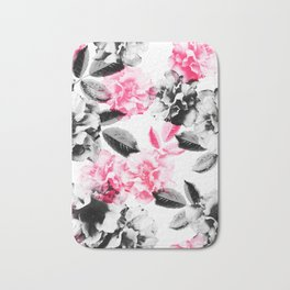 Rose Garden in Pink and Gray Bath Mat