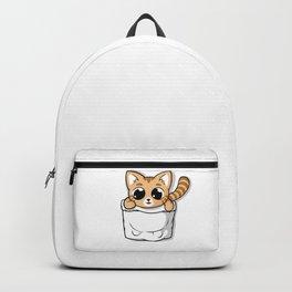 Cute Orange Pocket Cat Backpack