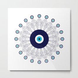 Evil Eye Mandala Metal Print