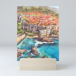 Dubrovnik Croatia ink & watercolor illustration Mini Art Print