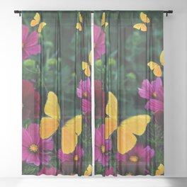 FUCHSIA-PURPLE COSMOS BUTTERFLY GARDEN ART Sheer Curtain