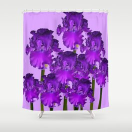 Contemporary Purple Iris Garden Art Shower Curtain