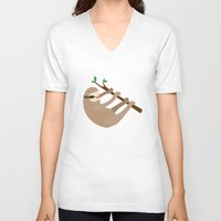 sloths V-neck T-shirts featuring Happy Little Sloths by ponychops