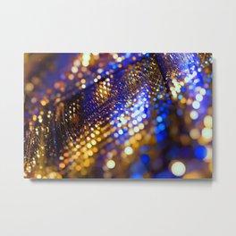 Gold Blue bokeh Metal Print