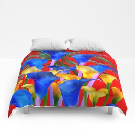 YELLOW & AZURE BLUE CALLA LILIES RED ART Comforters
