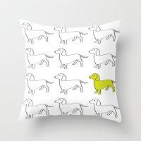 daschund Throw Pillows featuring Weenie Collective by WhyitsmeDesign