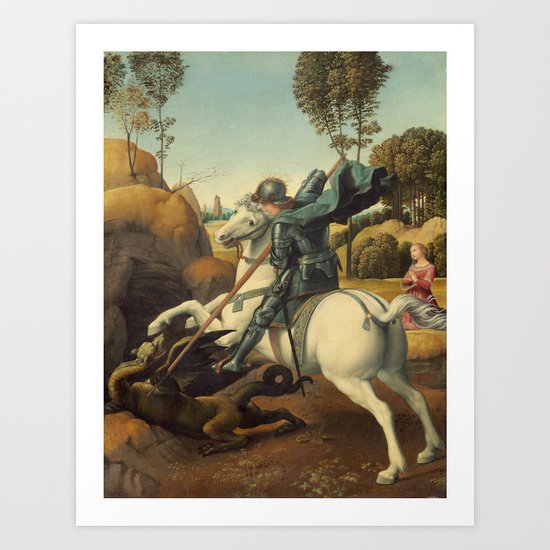 Saint George and the Dragon Oil Painting By Raphael by podartist